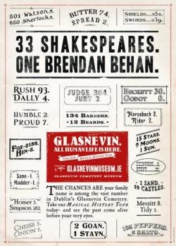 33 Shakespeares. One Brendan Behan.