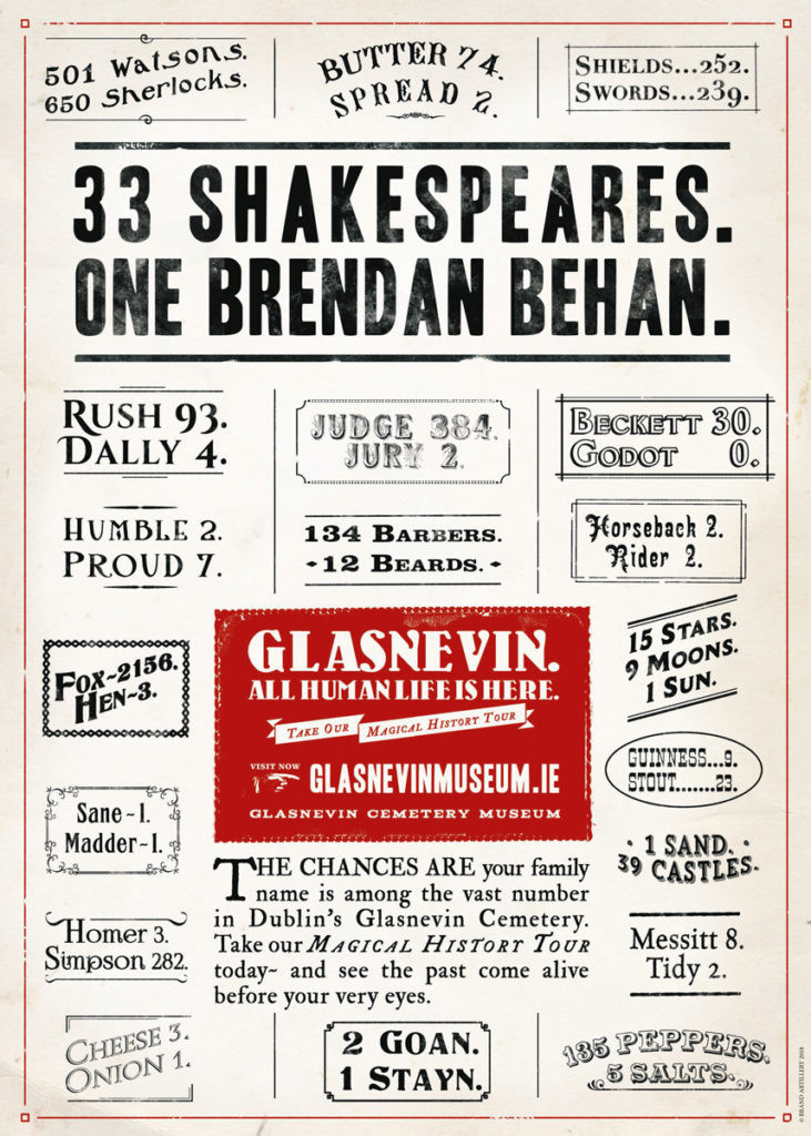 33 Shakespeares. One Brendan Behan.